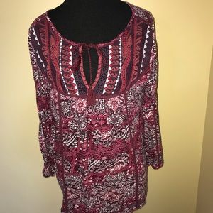Lucky Brand Peasant Shirt Sz Med Purple LS Floral